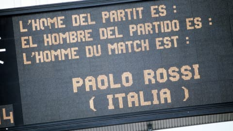The electronic scoreboard shows Italy's Paolo Rossi has won the man-of-the-match award in the semi-final against Poland. Rossi scored both goals in La Nazionale's 2-0 victory at Camp Nou.