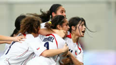 Melisa Rodriguez of Chile celebrates after scoring a goal by a header during the semi final match between Chile and Turkey in the Girls Youth Olympic Football Tournament at the Jalan Besar Stadium on August 21, 2010 in Singapore, Singapore.
