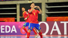 KLAIPEDA, LITHUANIA - SEPTEMBER 17: Borja Diaz of Spain celebrates after scoring their side's first goal during the FIFA Futsal World Cup 2021 group E match between Spain and Japan at Klaipeda Arena on September 17, 2021 in Klaipeda, Lithuania. (Photo by Chris Ricco - FIFA/FIFA via Getty Images)