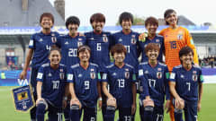 VANNES, FRANCE - AUGUST 24: Players of Japan pose for a team photo prior to the FIFA U-20 Women's World Cup France 2018 Final match between Spain and Japan at Stade de la Rabine on August 24, 2018 in Vannes, France.  (Photo by Alex Grimm - FIFA/FIFA via Getty Images)