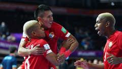 KLAIPEDA, LITHUANIA - SEPTEMBER 16: Abdiel Castrellon of Panoma celebrates with Ruman Milord and Braayan Hurst after scoring their team's first goal during the FIFA Futsal World Cup 2021 group D match between Panama and Vietnam at Klaipeda Arena on September 16, 2021 in Klaipeda, Lithuania. (Photo by Chris Ricco - FIFA/FIFA via Getty Images)