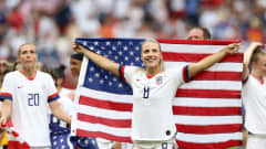 LYON, FRANCE - JULY 07:  Julie Ertz of the USA celebrates following the 2019 FIFA Women's World Cup France Final match between The United States of America and The Netherlands at Stade de Lyon on July 07, 2019 in Lyon, France. (Photo by Elsa/Getty Images)
