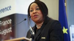 RENNES, FRANCE - AUGUST 23:  FIFA Secretary General Fatma Samoura addresses the Women's Football Conference during the FIFA U-20 Women's World Cup France 2018 on August 4, 2018 at Mercure Hotel Centre Gare in Rennes, France.  (Photo by Alex Grimm - FIFA/FIFA via Getty Images)