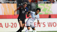 PORT MORESBY, PAPUA NEW GUINEA - DECEMBER 03:  Nana Ichise of Japan tries to tackle Kelcie Hedge of United States during the FIFA U-20 Women's World Cup, Third Place Play Off match between USA and Japan at National Football Stadium on December 3, 2016 in Port Moresby, Papua New Guinea.  (Photo by Ian Walton - FIFA/FIFA via Getty Images)