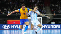 KAUNAS, LITHUANIA - SEPTEMBER 29: Marlon of Brazil battles for possession with Cristian Borruto of Argentina during the FIFA Futsal World Cup 2021 Semi-Final match between Brazil and Argentina at Kaunas Arena on September 29, 2021 in Kaunas, Lithuania. (Photo by Angel Martinez - FIFA/FIFA via Getty Images)