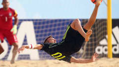 ESPINHO, PORTUGAL - JULY 14: Llorenc of Spain takes a shot on the goal during the FIFA Beach Soccer World Cup Portugal 2015 Group C match between Brazil and Spain at Espinho Stadium on July 14, 2015 in Espinho, Portugal.  (Photo by Alex Grimm - FIFA/FIFA via Getty Images)