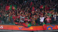 KAUNAS, LITHUANIA - OCTOBER 03: Fans of Portugal look on during the FIFA Futsal World Cup 2021 Final match between Argentina and Portugal at Kaunas Arena on October 03, 2021 in Kaunas, Lithuania. (Photo by Angel Martinez - FIFA/FIFA via Getty Images)