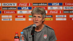 MOENCHENGLADBACH, GERMANY - JULY 12:  Pia Sundhage the coach of USA talks to the media during a press conference held at Borussia-Park on July 12, 2011 in Moenchengladbach, Germany.  (Photo by Alex Livesey - FIFA/FIFA via Getty Images)