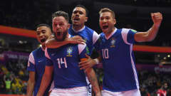 VILNIUS, LITHUANIA - SEPTEMBER 26: Rodrigo of Brazil celebrates after scoring their sides first goal with team mates Leonardo, Dieguinho and Pito during the FIFA Futsal World Cup 2021 Quarter Final match between Morocco and Brazil at Vilnius Arena on September 26, 2021 in Vilnius, Lithuania. (Photo by Alex Caparros - FIFA/FIFA via Getty Images)
