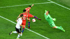 SAINT PETERSBURG, RUSSIA - JULY 02:  Marc-Andre ter Stegen of Germany saves from Alexis Sanchez of Chile during the FIFA Confederations Cup Russia 2017 Final between Chile and Germany at Saint Petersburg Stadium on July 2, 2017 in Saint Petersburg, Russia.  (Photo by Matthias Hangst/Bongarts/Getty Images)