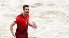ESPINHO, PORTUGAL - JULY 18:  Jordan of Portugal celebrates scoring a goal during the FIFA Beach Soccer World Cup semi final match between Portugal and Russia held at Espinho Stadium on July 18, 2015 in Espinho, Portugal.  (Photo by Dean Mouhtaropoulos - FIFA/FIFA via Getty Images)