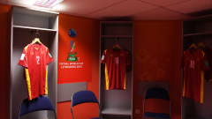 VILNIUS, LITHUANIA - SEPTEMBER 22: General view inside of the changing rooms of Vietnam ahead of the FIFA Futsal World Cup 2021 Round of 16 match between Football Union of Russia and Vietnam at Vilnius Arena on September 22, 2021 in Vilnius, Lithuania. (Photo by Alex Caparros - FIFA/FIFA via Getty Images)
