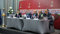 Opening press conference of the FIFA Club World Cup Morocco 2013 following the meeting of the FIFA Organising Committee in Marrakech on 10 December 2013. FIFA was represented by Chairman Mohamed Raouraoua and Secretary General Jérõme Valcke. Deputy Chairman Abdelilah El Akram and Event Director Karim Alem attended for the Local Organising Committee (LOC).