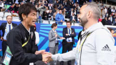 VANNES, FRANCE - AUGUST 24: Head coaches Futoshi Ikeda of Japan and Pedro Lopez of Spain shake hands prior to the FIFA U-20 Women's World Cup France 2018 Final match between Spain and Japan at Stade de la Rabine on August 24, 2018 in Vannes, France.  (Photo by Alex Grimm - FIFA/FIFA via Getty Images)