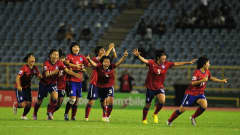 PORT OF SPAIN, TRINIDAD AND TOBAGO - SEPTEMBER 25: South Korea celebate after beating Japan on penalties during the FIFA U17 Women's World Cup Final match between South Korea and Japan at the Hasely Crawford Stadium on September 25, 2010 in Port of Spain, Trinidad And Tobago. (Photo by Shaun Botterill - FIFA/FIFA via Getty Images)