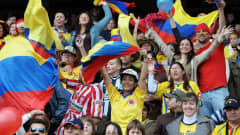 Colombia's fans cheer for their team
