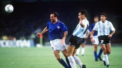 1990 World Cup Semi Final, Naples, Italy, 3rd July, 1990, Italy 1 v Argentina 1 (Argentina win 3-2 on penalties), Italy's Salvatore Schillaci is challenged for the ball by Argentina's Jose Serrizuela (Photo by Bob Thomas/Getty Images)