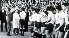 The Uruguayan team are presented to Her Majesty Queen Elizabeth II before the tournament's opening game against hosts England. The South Americans both hosted and won the first ever edition of the World Cup in 1930. Italy would host and win in 1934, and on 30 July 1966, England would become the third-ever host/winner of the World Cup (11 July 1966).