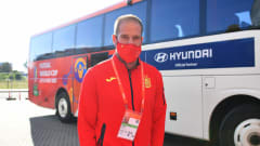 KLAIPEDA, LITHUANIA - SEPTEMBER 20: Francisco Solano of Spain arrives at the stadium prior to the FIFA Futsal World Cup 2021 group E match between Spain and Angola at Klaipeda Arena on September 20, 2021 in Klaipeda, Lithuania.  (Photo by Chris Ricco - FIFA/FIFA via Getty Images)