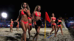 RAVENNA, ITALY - SEPTEMBER 05:  The Beach Babe cheerleaders run off the ground after they dance during the FIFA Beach Soccer World Cup Group B match between El Salvador and Argentina at Stadium del Mare on September 5, 2011 in Ravenna, Italy.  (Photo by Dean Mouhtaropoulos - FIFA/FIFA via Getty Images)