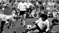 1974 FIFA World Cup Germany  <br />Final: Germany - Netherlands 2:1  <br />Paul Breitner, Johnny Rep (from left)