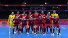 VILNIUS, LITHUANIA - SEPTEMBER 14: The Serbia team line up for a photo prior to the FIFA Futsal World Cup 2021 group F match between Serbia and IR Iran at Vilnius Arena on September 14, 2021 in Vilnius, Lithuania. (Photo by Alex Caparros - FIFA/FIFA via Getty Images)