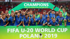 LODZ, POLAND - JUNE 15: The Ukraine team celebrate with the FIFA U-20 World Cup Trophy following their team's victory in the 2019 FIFA U-20 World Cup Final between Ukraine and Korea Republic at Lodz Stadium on June 15, 2019 in Lodz, Poland. (Photo by Lars Baron - FIFA/FIFA via Getty Images)