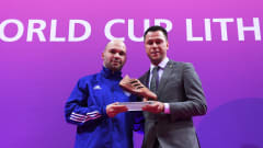 KAUNAS, LITHUANIA - OCTOBER 03: Taynan of Kazakhstan is presented with the Adidas Bronze Boot Award the FIFA Futsal World Cup 2021 Final match between Argentina and Portugal at Kaunas Arena on October 03, 2021 in Kaunas, Lithuania. (Photo by Alex Caparros - FIFA/FIFA via Getty Images)
