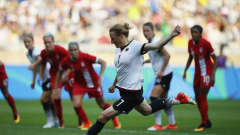 BELO HORIZONTE, BRAZIL - AUGUST 16:  Melanie Behringer of Germany scores her team's first goal the Women's Semi Final match between Canada and Germany on Day 11 of the Rio2016 Olympic Games at Mineirao Stadium on August 16, 2016 in Belo Horizonte, Brazil.  (Photo by Joern Pollex - FIFA/FIFA via Getty Images)
