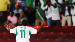 ABU DHABI, UNITED ARAB EMIRATES - NOVEMBER 08: Musa Yahaya of Nigeria celebrates his team's first goal during the FIFA U-17 World Cup UAE 2013 Final between Nigeria and Mexico at Mohamed Bin Zayed Stadium on November 8, 2013 in Abu Dhabi, United Arab Emirates.  (Photo by Alex Grimm - FIFA/FIFA via Getty Images)