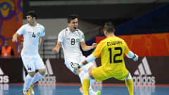 VILNIUS, LITHUANIA - SEPTEMBER 18: Khusniddin Nishonov of Uzbekistan celebrates scoring his teams first goal of the match during the FIFA Futsal World Cup 2021 group B match between Egypt and Uzbekistan at Vilnius Arena on September 18, 2021 in Vilnius, Lithuania. (Photo by Alexander Scheuber - FIFA/FIFA via Getty Images)