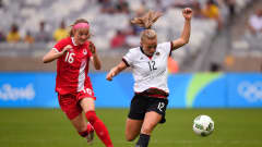 BELO HORIZONTE, BRAZIL - AUGUST 16:  Janine Beckie #16 of Canada and Tabea Kemme #12 of Germany compete for the ball during the Women's Semi Final match between Germany and Canada on Day 11 of the Rio 2016 Olympic Games at Mineirao Stadium on August 16, 2016 in Belo Horizonte, Brazil.  (Photo by Pedro Vilela/Getty Images)
