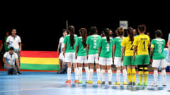 BUENOS AIRES, ARGENTINA - OCTOBER 15:  The team of Bolivia line up prior to  the Women's Futsal semi final match between Portugal and Bolivia during the Buenos Aires Youth Olympics 2018 at Tecnopolis> on October 15, 2018 in Buenos Aires, Argentina.  (Photo by Martin Rose - FIFA/FIFA via Getty Images)