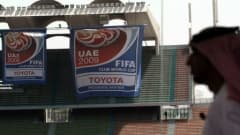 The FIFA Club World Cup 2009 official emblem flutters at Sheikh Zayed Stadium during its unveiling ceremony in Abu Dhabi