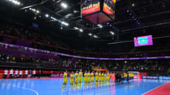 KAUNAS, LITHUANIA - OCTOBER 03: Players of Kazakhstan and Brazil line up ahead of the FIFA Futsal World Cup 2021 3rd Place Playoff match between Brazil and Kazakhstan at Kaunas Arena on October 03, 2021 in Kaunas, Lithuania. (Photo by Angel Martinez - FIFA/FIFA via Getty Images)