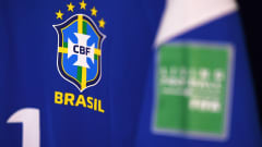 VILNIUS, LITHUANIA - SEPTEMBER 26: Detailed view of a Brazil shirt inside of the changing rooms ahead of the FIFA Futsal World Cup 2021 Quarter Final match between Morocco and Brazil at Vilnius Arena on September 26, 2021 in Vilnius, Lithuania. (Photo by Alex Caparros - FIFA/FIFA via Getty Images)