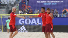 MOSCOW, RUSSIA - AUGUST 29: Philipp Borer of Switzerland celebrates with teammates Glenn Hodel and Dejan Stankovic after scoring his team's first goal during the FIFA Beach Soccer World Cup 2021 3rd Place match between Switzerland and Senegal at Luzhniki Beach Soccer Stadium on August 29, 2021 in Moscow, Russia. (Photo by Octavio Passos - FIFA/FIFA via Getty Images)
