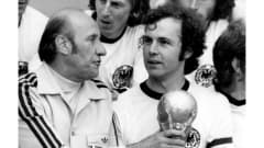 1974 FIFA World Cup Germany  Coach Helmut Schoen (left) and Franz Beckenbauer with the Trophy