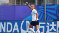 VANNES, FRANCE - AUGUST 17: Georgia Stanway of England celebrates after scoring her sides second goal during the FIFA U-20 Women's  World Cup France 2018 Quarter Final quarter final match between England and Netherlands at Stade de la Rabine on August 17, 2018 in Vannes, France. (Photo by Catherine Ivill - FIFA/FIFA via Getty Images)