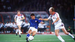 Roberto Baggio finishes off a memorable goal during Italy's 2-0 win over Czechoslovakia at the 1990 FIFA World Cup Italy™ on 19 June 1990.