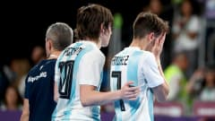 BUENOS AIRES, ARGENTINA - OCTOBER 18:  Ezequiel Ramirez #7 of Argentina reacts in the Men's Futsal 3rd place match between Argentina and Egypt during the Buenos Aires Youth Olympics 2018 at Tecnopolis on October 18, 2018 in Buenos Aires, Argentina.  (Photo by Martin Rose - FIFA/FIFA via Getty Images)