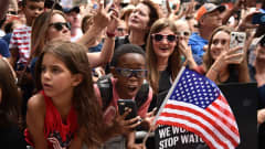 NEW YORK, NEW YORK - JULY 10: Fans celebrate during a Victory Ticker Tape Parade for the U.S. Women's National Soccer Team down the Canyon of Heroes on July 10, 2019 in the Manhattan borough of New York City. The USA defeated the Netherlands on Sunday to win the 2019 FIFA Women's World Cup France. (Photo by Theo Wargo/Getty Images)