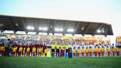 SUWON, SOUTH KOREA - JUNE 11:  Players, officials and mascots line up prior to the FIFA U-20 World Cup Korea Republic 2017 Final between Venezuela and England at Suwon World Cup Stadium on June 11, 2017 in Suwon, South Korea.  (Photo by Maddie Meyer - FIFA/FIFA via Getty Images)