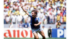 1986 FIFA World Cup Mexico  Guadalajara, Mexico. 21st June, 1986.  France 1 v Brazil 1. (France win 4-3 on penalties). France's Luis Fernandez celebrates after scoring the winning penalty in the shoot to put his team through to the semi finals.