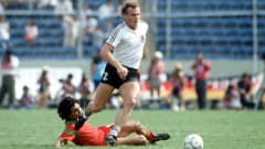 1986 World Cup Finals, Second Phase, Monterrey, Mexico, 17th June, 1986, West Germany 1 v Morocco 0, West Germany's Hans Peter Briegel (Photo by Bob Thomas/Getty Images)