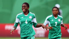 Asisat Oshoala of Nigeria celebrates her team's first goal during the FIFA U-20 Women's World Cup Canada 2014 Quarter Final match between Nigeria and New Zealand at Moncton Stadium on August 17, 2014 in Moncton, Canada.  (Photo by Alex Grimm - FIFA/FIFA via Getty Images)