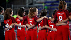 BUENOS AIRES, ARGENTINA - OCTOBER 15: The team of Portugal line up prior to  the Women's Futsal semi final match between Portugal and Bolivia during the Buenos Aires Youth Olympics 2018 at Tecnopolis> on October 15, 2018 in Buenos Aires, Argentina.  (Photo by Martin Rose - FIFA/FIFA via Getty Images)