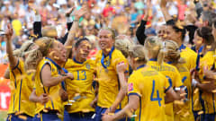 SINSHEIM, GERMANY - JULY 16:  The Sweden players celebrate after victory over France in the FIFA Women's World Cup 3rd Place Playoff between Sweden and France at Rhein-Neckar Arena on July 16, 2011 in Sinsheim, Germany.  (Photo by Alex Livesey - FIFA/FIFA via Getty Images)
