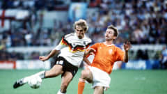West Germany's Jurgen Klinsmann in action against the Netherlands at Italy 1990