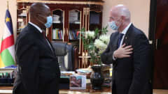 FIFA President Gianni Infantino meets President of Central African Republic Faustin-Archange Touadéra